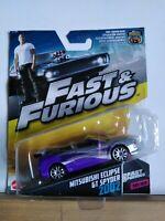 Rare Mattel fast and furious 1/55 Roman's Purple Mitsubishi Eclipse GT Spider