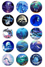15 x Dolphins Bottle Cap Logo Images for Necklaces, Magnets, Scrapbooking, Bows