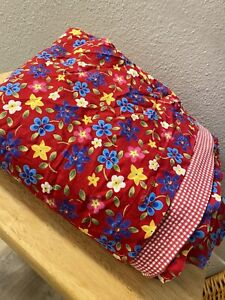 Ralph Lauren Floral Daisy Cotton Duvet Cover Full  Red Gingham Yellow RARE HTF