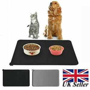 Pet Puppy Food Mat Silicone Waterproof Feeding Dog Cat Non Slip Bowl Placemat UK