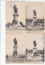 Lot 4 cartes postales ancienne DUNKERQUE monument trystram