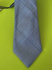 NWT Burberry Manston Check Silk Tie HYDRANGEA BLUE Made in Italy Retail $190