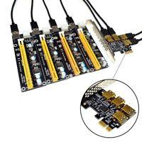 Neue 4 Ports PCIe Riser Adapterkarte PCI-E 1x bis 4 USB 3.0 PCI-E RABBET GPU