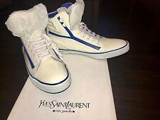 YVES SAINT LAURENT Y High Top Sneaker Vitello Vernice Soft White Patent Leather