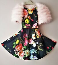 Ted Baker Girls Black oil painting Fit & Flare Party Dress Age 11*Cape listed.