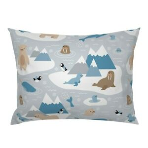 Arctic Animals Polar Bear Walrus Narwhal North Pole Pillow Sham by Roostery