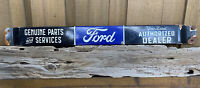"""VINTAGE PORCELAIN FORD TRUCK SIGN 32"""" DOOR BAR AUTO PART OIL GAS SERVICE TRACTOR"""