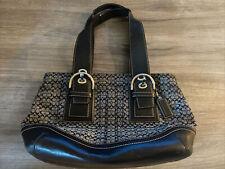 Authentic Coach Shoulder Bag Purse handbag Black / Gray Canvas & Black Leather