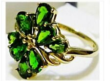 10K YELLOW GOLD GREEN CHROME DIOPSIDE PEAR COCKTAIL RING, SIZE 7, 3.04(TCW) 3.3G