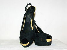 LIPSTICK BLACK PEEP TOE SLING BACK WITH CORK DETAIL SIZE 8.5 AU (will post)