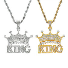 King Crown Pendant Necklace Unisex Hip-Hop Jewelry with 24'' Rope Chain