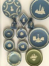 Set of 12 Vtg Wedgwood Blue Green Jasper Ware Christmas Plates Bell Collection