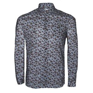 Pearly King Vault Shirt Grey And Green Long Sleeve Leaf Pattern PK Chest Logo
