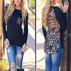Femme Chemise à manches longues Chemisier Leopard Top Haut T-shirt Taille 36-44