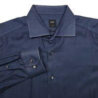 Hugo Boss Tailored Regular Fit Blue Button U Dress Shirt Men's Size 17.5 - 44