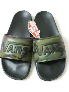 Vans Men's La Costa Slide On Sandals Camouflage Black Green Waffle Tread NWT
