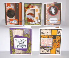 "Halloween Greeting Cards Handmade - Set #5 - 5 A2 Size (5.5""X4.25"") & Envelopes"