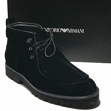 EMPORIO ARMANI Black ITALY Velour & Leather Dress Men's Ankle Boots 8 41 Casual