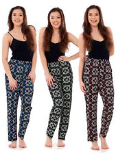 Ladies Floral Print Trousers Elasticated Summer Narrow Leg Harem Tapered Pants