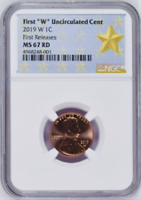"""2019 W First """"W"""" Uncirculated Cent First Releases NGC MS67 RD STAR Label"""