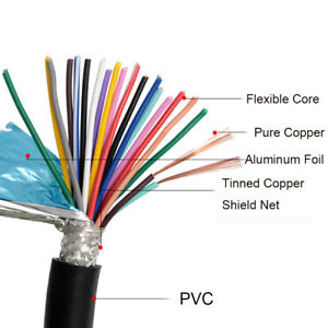 RVVP Shielded Signal Cable 8x0.15/0.2/0.3/0.5/1/1.5-12x1mm² Sheath Flexible Wire
