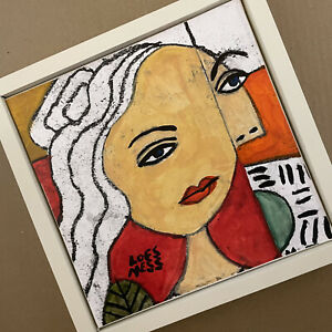 "Al Lofsness  - Canvas - Portrait - 10 x 10 w Frame   ""Modern Woman""   Acrylic"
