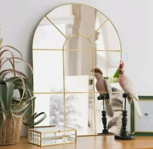 Gold Large Metal Frame Arch Window Mirror Wall Hanging 80cm x 60cm Solid Back