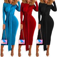 Fashion Women Velvet Bodycon Dress Long Sleeve High Waist Lace Up Midi Dresses