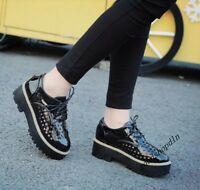 British College Style Ladies Faux Suede Hollow Platform Creepers Lace Up Shoes 6
