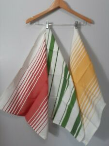 Set of 3 Striped Kitchen Towels by TAG 100% cotton Red Green Yellow NEW