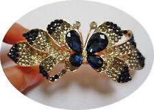 A Blau und Weiß Emailliert und Strass Metall Schmetterling Barrette Haarklammer