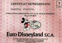 Euro Disneyland share Paris 1983 W. Disney hotel parc fun france Mickey Mouse