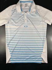 OAKLEY Mens Golf Polo Shirt Size M Striped White/Blue