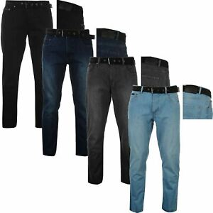 Mens Pierre Cardin Belted Denim Jeans Straight Leg Regular Fit Pants Big Tall