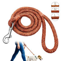 Soft Braided Leather Dog Walking Lead Leashes Pet Rolled Rope Small Medium Large