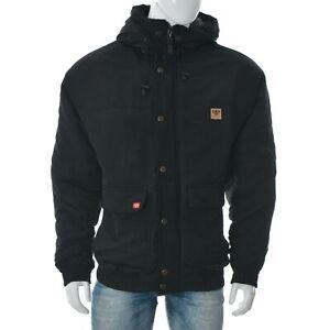 PellePelle Men's Weatherproof Hooded Parka Bomber Rain Jacket Black Padded Coat