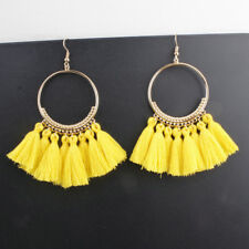 Fashion Women Bohemian Earring Vintage Long Tassel Fringe Dangle Earrings Yellow