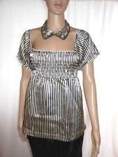 Vero Moda Womens Casual Gloss satin Stripe Square Neck Tunic Blouse Sz S ac44