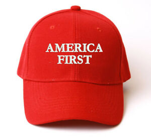 AMERICA FIRST EMBROIDERED RED STRUCTURED BASEBALL CAP HAT