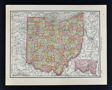 1911 McNally Map - Ohio Cleveland Cincinnati Columbus Youngstown Toledo Akron