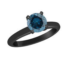 1.00 CARAT ENHANCED BLUE DIAMOND SOLITAIRE ENGAGEMENT RING 14K BLACK GOLD