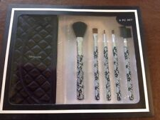 New 6pc Makeup Brush Set Lace Pattern With Satin Travel Case In Gift Box