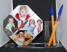 Horloge de bureau octogonale pot à crayons photo personnalisé pele mele 4 photos