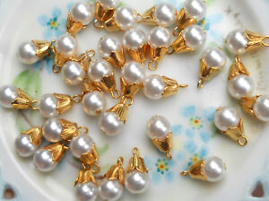 #952 Vintage Beads Drops Dangles Teardrop Pearl Japan Charm Charms Pendant NOS