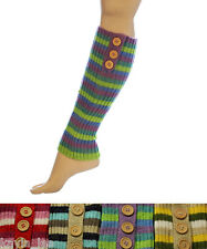 3 Button Stripe Shimmer Acrylic Leg Warmers 4 Colors Boot Cuff Socks