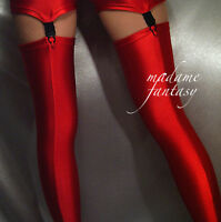 MADAME FANTASY SEXY RED SHINY OPAQUE SPANDEX STOCKINGS XS-XXXL Tall