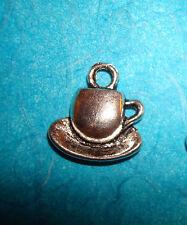 Coffee Cup Charms Tea Cups Tibetan Silver Alice in Wonderland Tea Cup Secretary