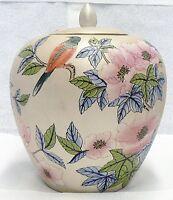 VINTAGE CHINESE CERAMIC VASE JAR WITH LID FLOWERS & BIRDS DESIGN