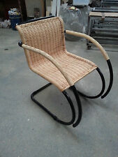 Mies van der Rohe style Classic Arm Dining Chair in steel and cane