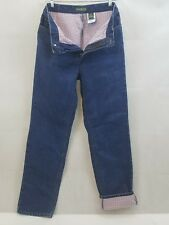 EUC Womens EDDIE BAUER Flannel Lined Classic Rise Boot Jeans Size 10 Tall